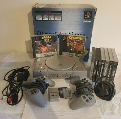 Sony PlayStation PS1 Console SCPH-5552 PAL BOXED TESTED X2 PADS X7 CLASSIC GAMES