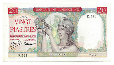 French Indo China 20 Piastres 1949 Xf P 81