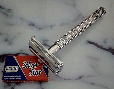 Long Handle Double Edge Traditional TTO Butterfly Safety Razor Shaver 10 Blades