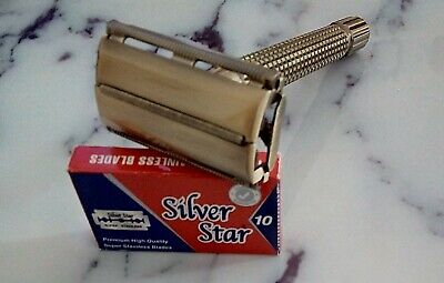 Long Handle Double Edge Traditional Shaver TTO Butterfly Safety Razor 10 Blades