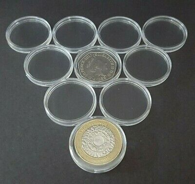 10 x 30mm coin capsules FOR 50p/ £2 coins BRAND NEW (50 pence, 2 pound, Olympic)