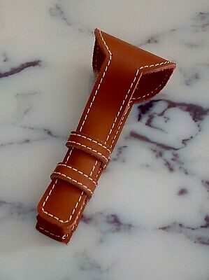 Light Brown Stitched Leather Shaver Case Double Edge Safety Razor Travel Pouch