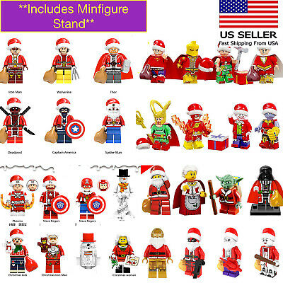Christmas Santa Minifigures Superhero Fits Lego Grinch Yoda Star Wars Thanos
