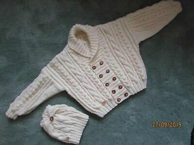 """New hand knitted Childs aran cardigan complete with matching hat 28"""" chest."""