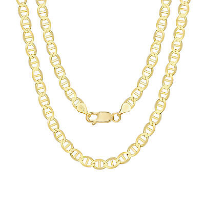 14K Yellow Gold Solid 6mm Anchor Mariner Gucci Link Chain Pendant Necklace 20""