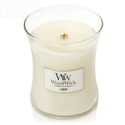 WoodWick Medium Hourglass Scented Candle with Crackling Wick, Linen