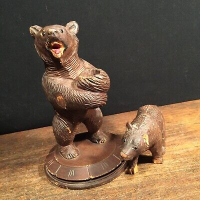 Vintage Antique Black Forest Wood Carved Bears (2) Germany Austria PRIORITY MAIL