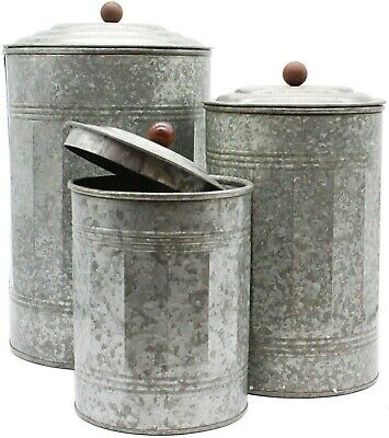 3 Canister Galvanized Steel Canisters Planter Plants Gardening Kitchen Cooking