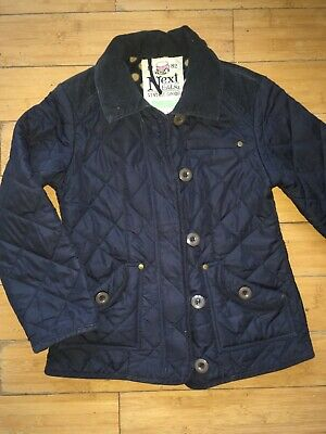 NEXT girls navy blue Barbour Style quilted jacket coat AGE 9 - 10 YEARS