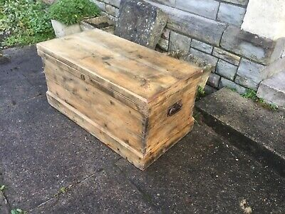 Beautiful Antique Victorian Old Vintage Pine Chest /Trunk / Wooden Blanket Box