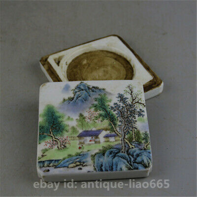 "3.9"" Chinese Famille-rose Porcelain Mountains Rivers Landscape Square Inkpad Box"
