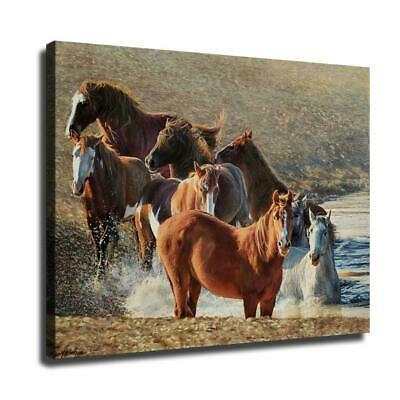 "12""x16""Horse in the river HD Canvas prints Painting Home Decor Wall art poster"