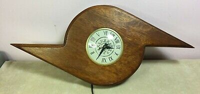 Mid Century Modern Lanshire Wall Clock Real Unique Wood Design