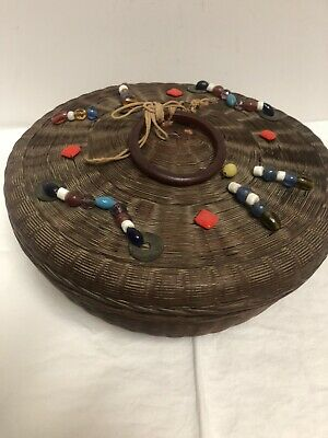ANTIQUE Chinese Sewing Basket ~ Coin Tassel ~ Bead Bangle Peking Glass Ring