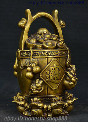 Collect China Folk Brass Attract Wealth Yuanbao Gourd Gold Toad Bucket Sculpture