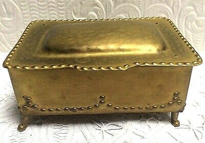 Antique 1910 Hammered Brass Footed Oak Lined Mission Arts & Crafts Box