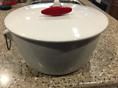Vintage Ironstone Tackett Pot and Lid with red handle marked 1961