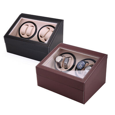 4+6 Black Brown Automatic Rotation Leather Wood Watch Winder Display Case Box