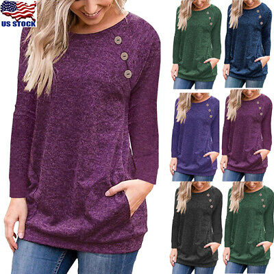 Womens Long Sleeve Pullover Blouse Tops Casual Loose Button Pocket Hoodies Shirt