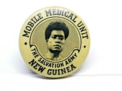 Mobile Medical Unit Salvation Army New Guinea Tin Badge / Pin