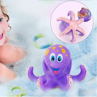 Bath Toy Baby Boy Girl Kids Floating Octopus Infant Toddlers Play +5 Ring Shower