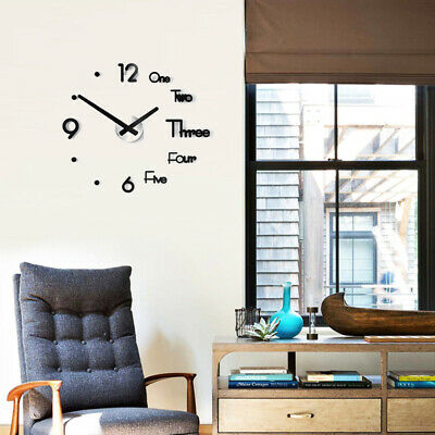 Large Wall Clock Modern Design 3D Wall Sticker Quartz Clock Silent Home Decor UK