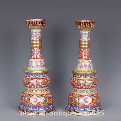 """10"""" Chinese Porcelain Colour Enamels Painting Gold Candlestick Candle Stick Pair"""
