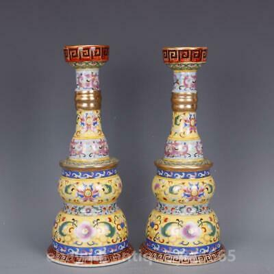 """10"""" China Porcelain Colour Enamels Painting Gold Candlestick Candle Stick Pair 2"""