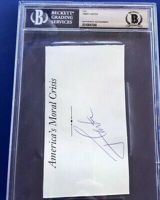 39th U.S. President Autograph Signed Cut Auto Jimmy Carter Beckett Authentic PSA