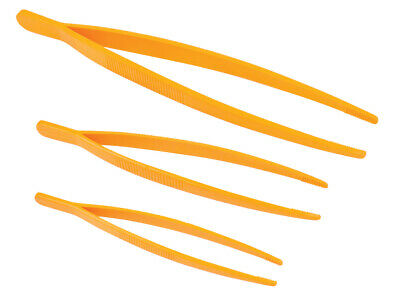 Pack of 3 Extra Large Lightweight Plastic Tweezers Set, 25cm/18cm/14cm Size