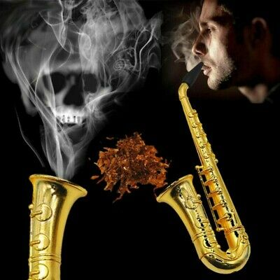 Portable Saxophone Pipe Smoking Holder Golden Tobacco Cigarette Pipes Gifts