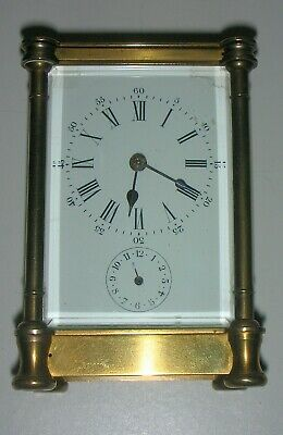 ANTIQUE and RARE FRENCH  8 DAY CARRIAGE CLOCK  with ALARM on BELL