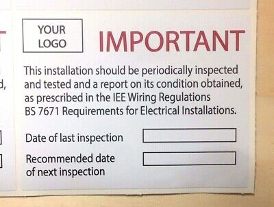 Next Inspection Periodic Test Labels/Stickers FREE LOGO 100x75mm X 50
