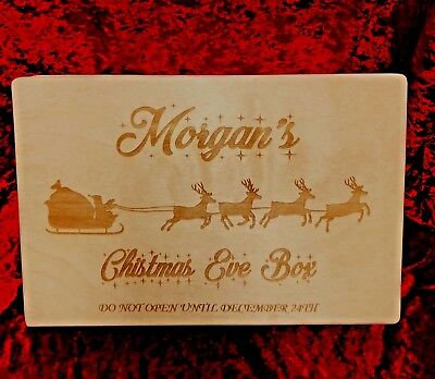 Personalised Engraved Solid Wooden Pine Christmas Eve Xmas Box Chrome Hasp
