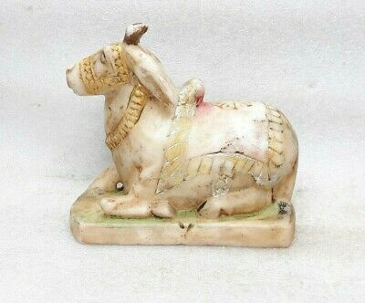 Antique Carved Marble Stone Hindu God Shiva Temple Nandi Cow Figure Statue Paint