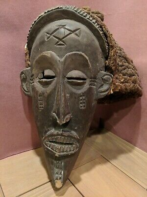 Chokwe Ceremonial Mask with Woven Headdress —  Authentic Carved Wood African Art