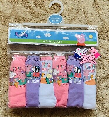 Peppa Pig Briefs / Underpants / Knickers x 6 - Night Night - Age 4 - 5 Years New