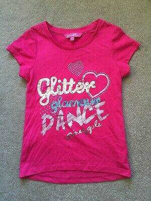 Pineapple Girls Bright Pink Glitter Glamour Dance Sequin T Shirt Top Age 6-7 VGC