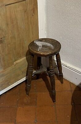 "Antique Victorian RUSTIC OAK MILKING STOOL four leg country farmhouse 17.5"" high"