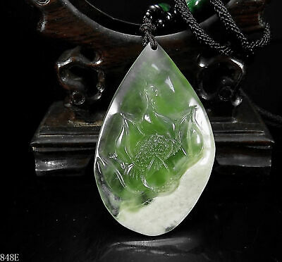 100% Natural Hand-carved Chinese Jade Pendant jadeite Necklace lotus flower 848e