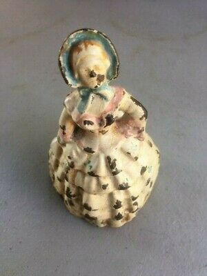 """Vintage Steel/Cast Iron Woman """"Bell of the Ball"""" Lady Paperweight Heavy"""