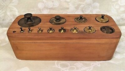 Vintage 11 Brass Scale Weights with Wood Base