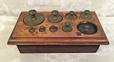 Vintage Brass Scale Weights and Coin/Sheet Weights with Wood Base