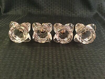 "4 Pink Glass Rose 6 1/2"" Curtain Pull Backs"