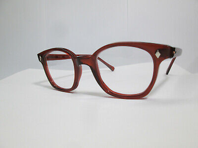 Eyeglasses 50s Style Horn Rim Hipster Custom Brown Clear AO Glass 50 Hoya Lg