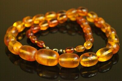 Natural OLD Antique 48.4g Cognac Honey OVAL Baltic Amber Stone Necklace B936