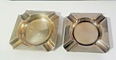 Pair Vintage British  Sterling Silver Ashtrays Perfect Hallmarked 1940'S
