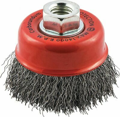 """3"""" Crimped Wire Cup Brush, Arbor Hole Mounting, 0.014"""" Wire Dia. 3/4"""" Bristle"""