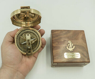 """Compass PERSONALISED Vintage style Nautical 3"""" Heavy Brass Maritime free engrave"""