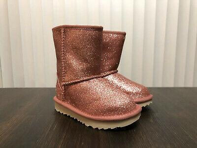 UGG Girls Toddler Kids Classic Short II Glitter Pink Boots Size 9 (1098491T)